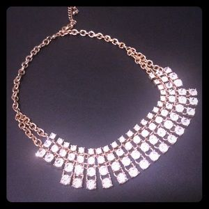 Faux Diamond Statement Necklace Gold